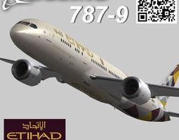 Boeing 787-9 Etihad airways livery 3D asset