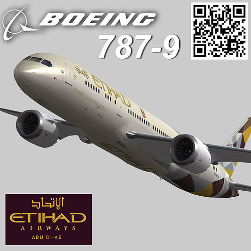 boeing 787-9 etihad airways livery 3d model low-poly rigged max 3ds fbx 1