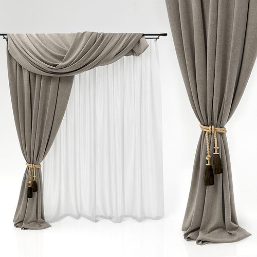 Curtains curtains 3d cgtrader for 3 window curtain design