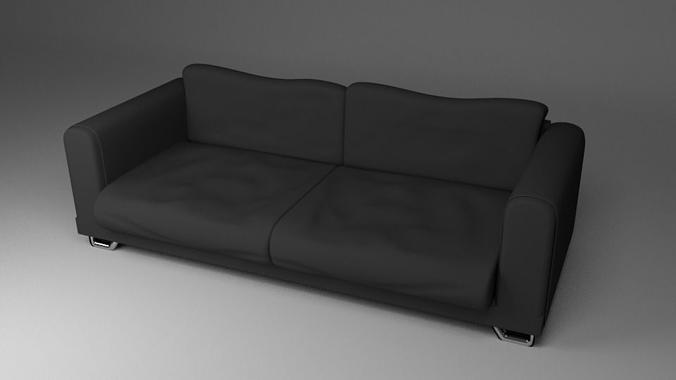 Black Fabric Couch Sofa Model Obj Mtl Fbx Blend Dae 1