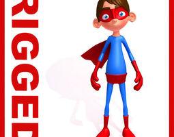 Superhero Cartoon Rigged  3D Model