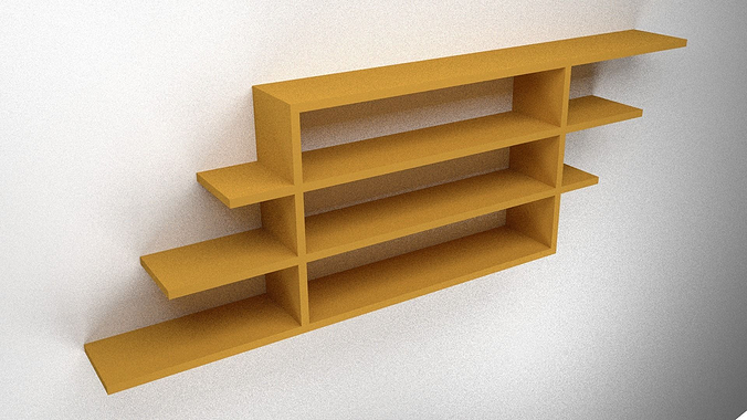 ... wooden shelf 3d model low-poly obj fbx blend dae mtl 2 ...
