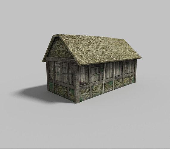 Low Poly Village House 1 3d Model Low Poly Obj 3ds Fbx Blend Dae 1