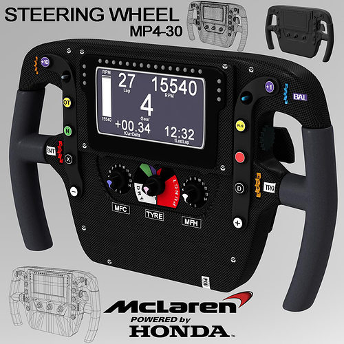 mp4 30 steering wheel 3d model max obj 3ds fbx c4d ma mb 1