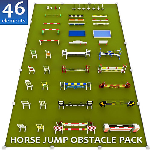 07c4b07b83 3D model Horse jump obstacle full pack