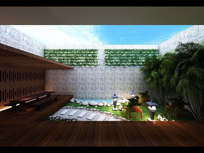 zen garden design 3d model max. Black Bedroom Furniture Sets. Home Design Ideas