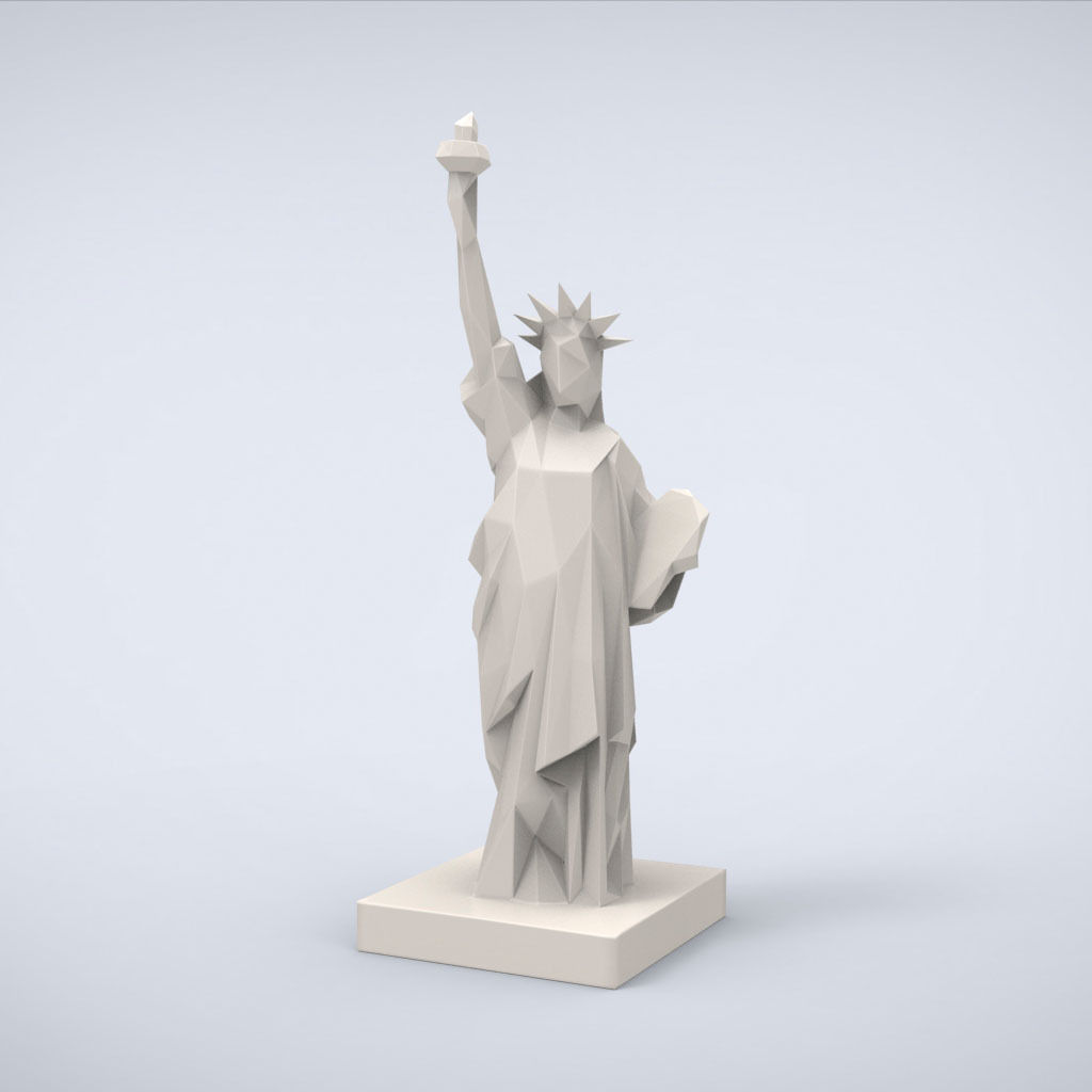 Printable Statue of Liberty Lowpoly Style 3D model 3D printable