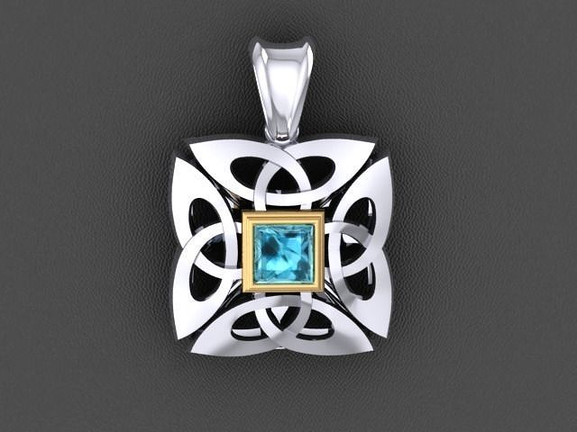 celtik cross pendant with stone 3d model stl 3dm 1