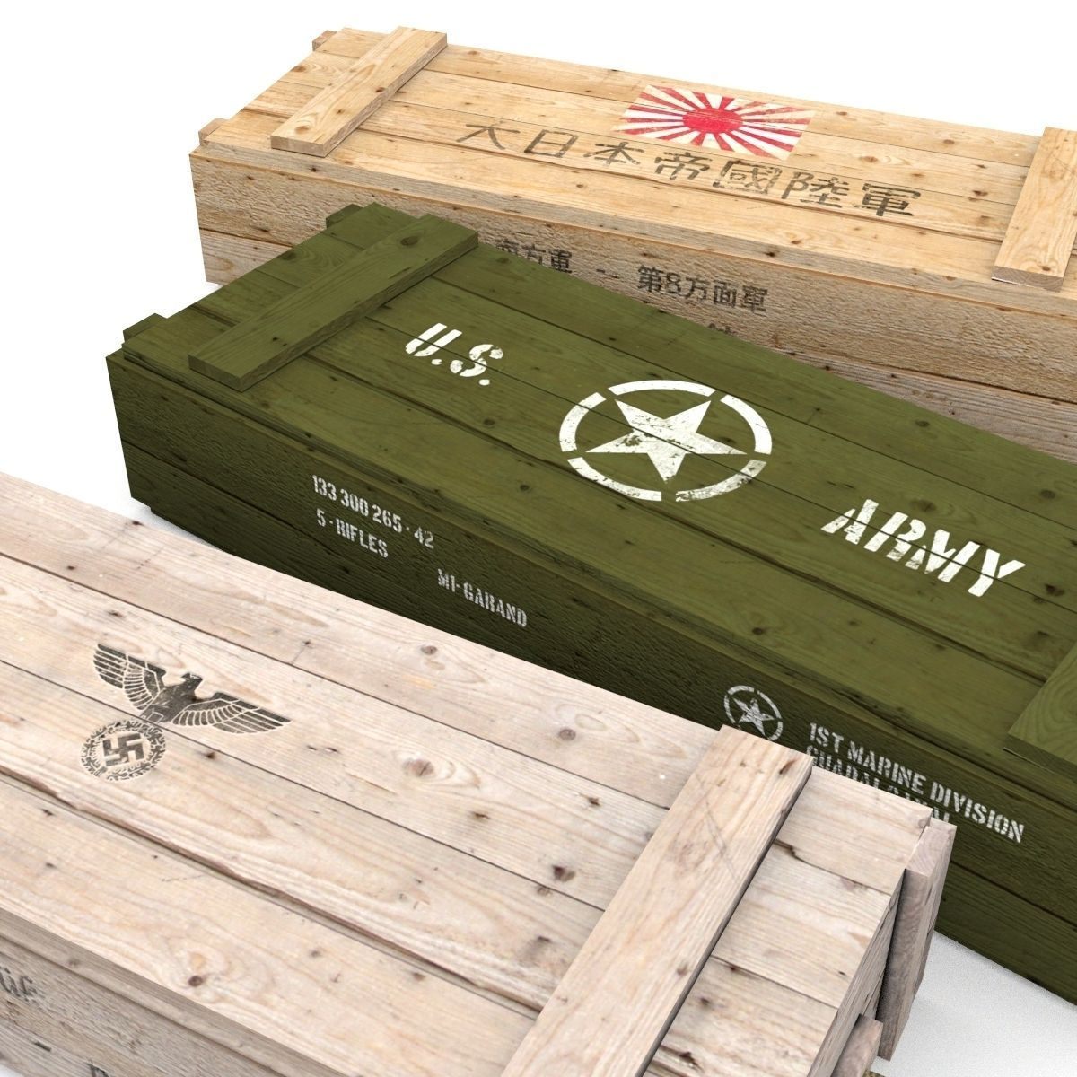 D model army crates wwii collection vr ar low poly