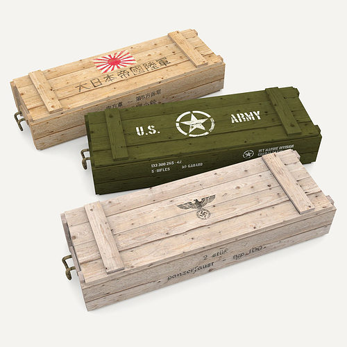 3d Asset Army Crates Wwii Collection Cgtrader