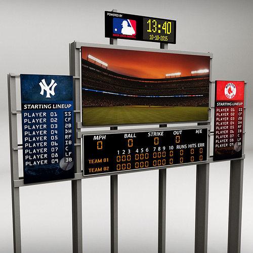baseball stadium scoreboard low poly 3d model low-poly max obj mtl 3ds fbx 1
