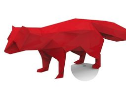 prehistoric fox 3d model low-poly