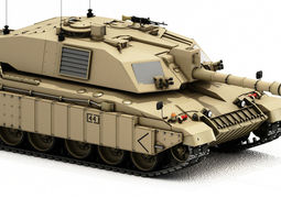 Challenger 2 British Army Tank with desert sand paint 3D 1