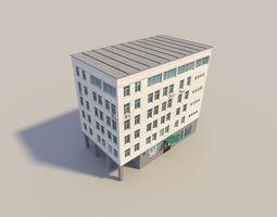 low poyl town flat house 3D asset