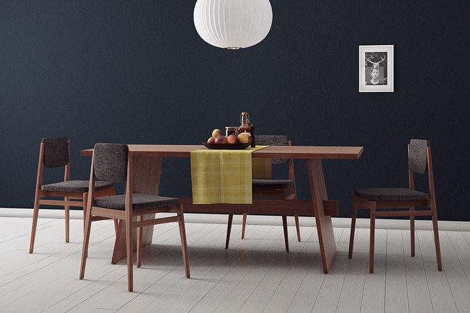 Dining room set 3d model max for Dining room 3d max model