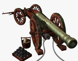 venice bronze cannon xvii - xviii century - culverin 3d model