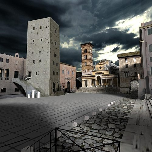 terracina forum scene 3d model max obj blend wrl wrz mtl x3d 1