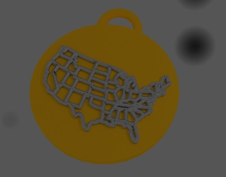 3D printable model Pendant US India map