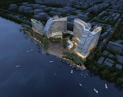 island luxury hotels 3d model