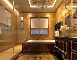 Luxury bathroom 3D model architectural