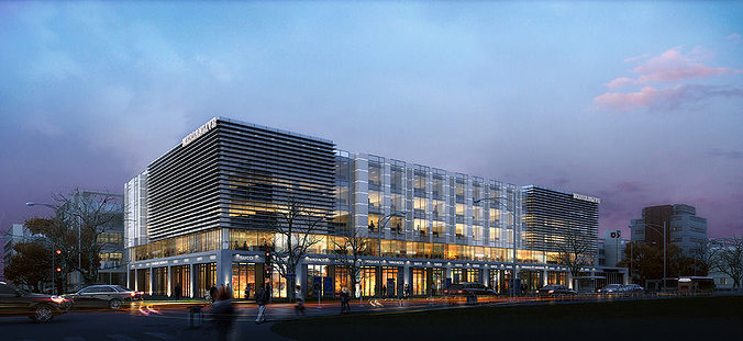 office buildings night 3d model max obj mtl tga 1