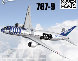 boeing 787-9 ana starwars livery 3d model animated