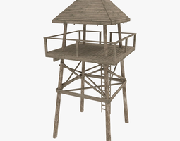 look out tower game-ready 3d asset