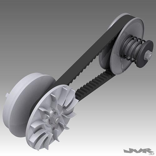cvt - small continuously variable transmission 3d model max obj 3ds fbx mtl pdf 1