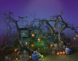 Low Poly Cemetery Halloween Set 3D asset