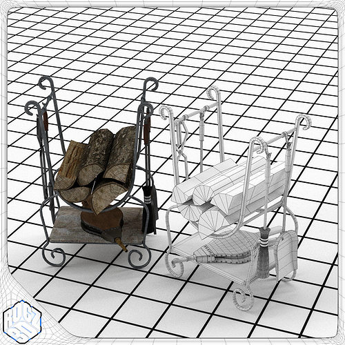 fireplace tool set 3d model obj 3ds fbx blend 1
