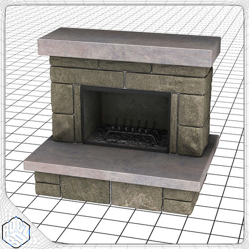 stone fireplace 3d model obj 3ds fbx blend mtl 1