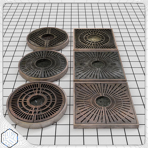 tree planter grate set 3d model obj 3ds fbx blend mtl 1