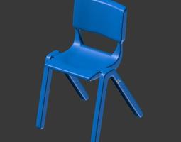Plastic Student Chair 3D model