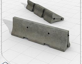 Concrete Crash Barrier 3D model
