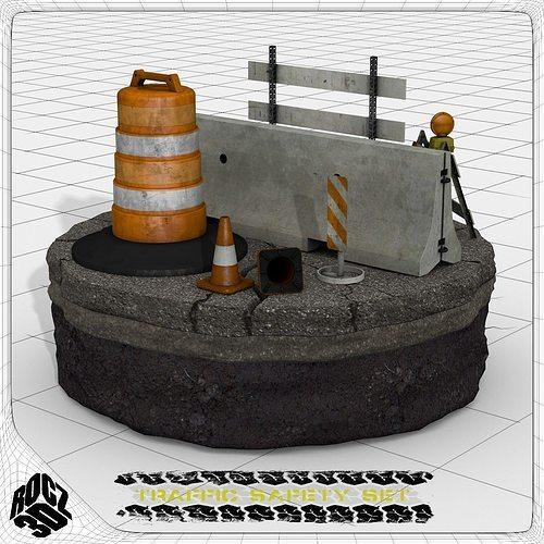 construction and traffic safety set 3d model obj 3ds fbx blend 1