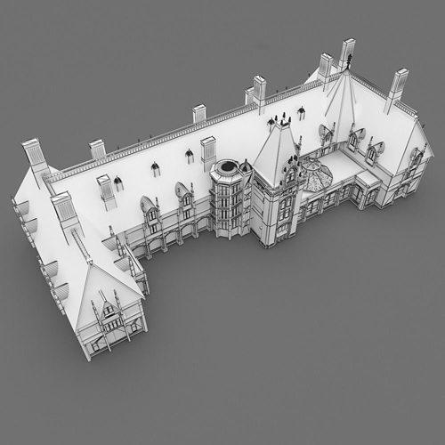 Asheville Model Home Interior Design 1264f: Biltmore House 3D Model OBJ 3DS MTL PDF