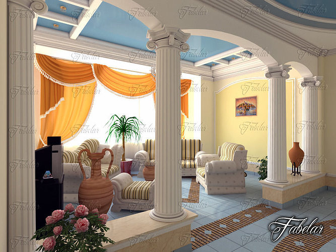 Living room 28b 3d model max obj 3ds fbx c4d dae for Living room cinema 4d