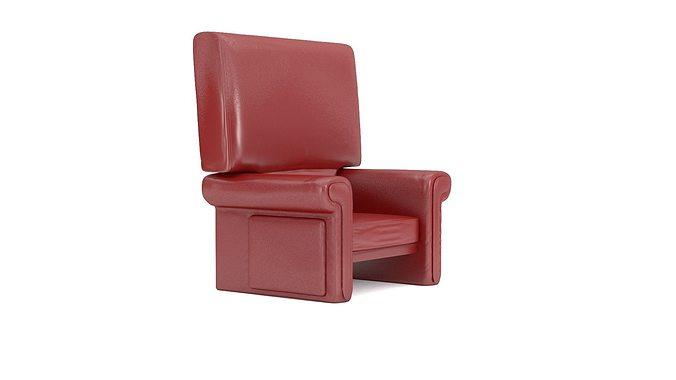 red leather chair sofa 3d model 3ds blend mtl 1