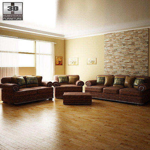 ashley living room ralston 3d model low-poly max obj mtl 3ds lwo lw lws 1