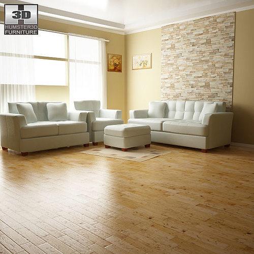 ashley zia spa living room set 3d model low-poly max obj 3ds lwo lw lws mtl 1