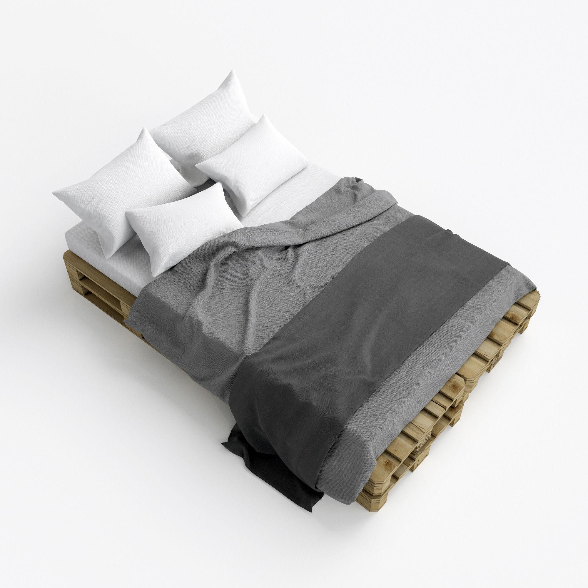 Pallete bed free 3d model max obj fbx for 3ds max bed model