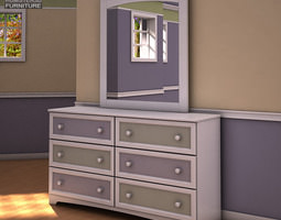Ashley Sandhill Dresser Mirror 3D Model