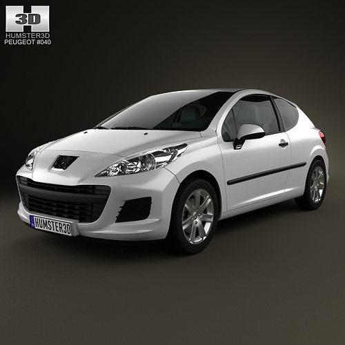 Peugeot 108 3 Door 1 0 Active Hatchback: 3D Model Peugeot 207 Hatchback 3-door 2012