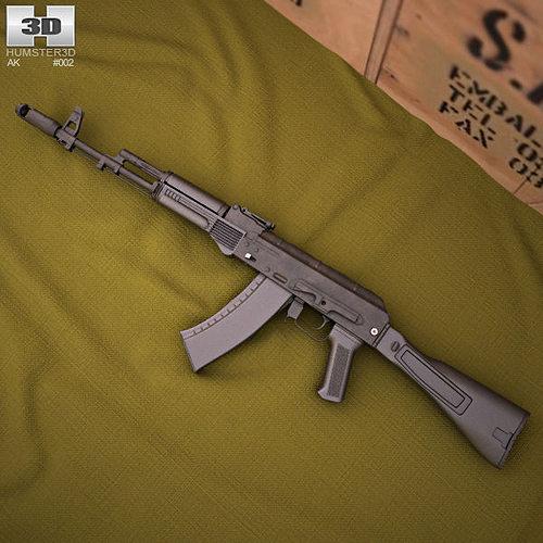 ak-74m 3d model max obj mtl 3ds fbx c4d lwo lw lws 1
