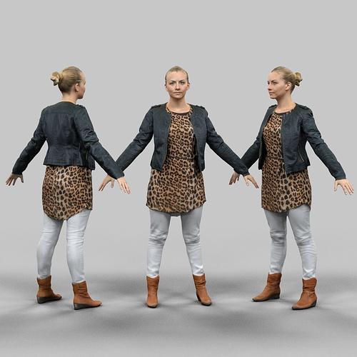 a-pose blonde woman 3d model obj fbx mtl 1