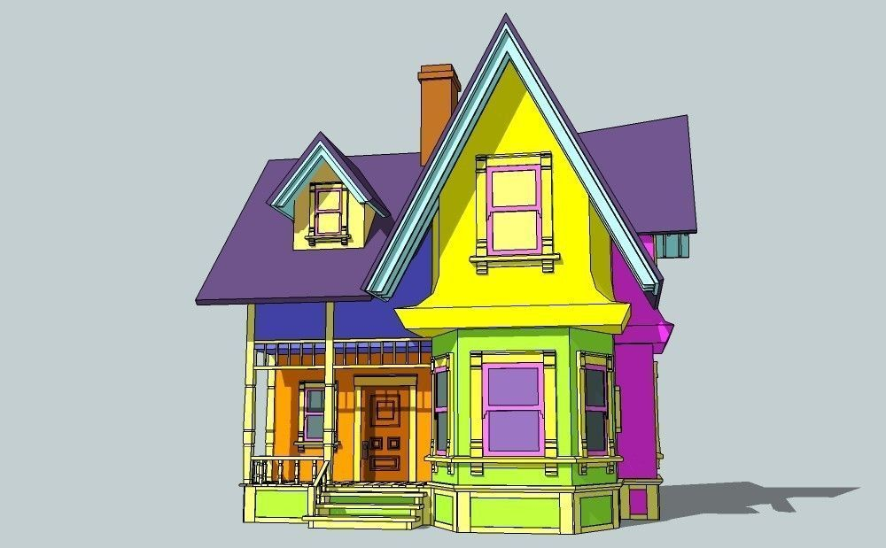 3d Model House From Animation Movie Up Vr Ar Low Poly