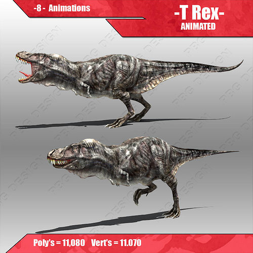 tyrannosaurus rex  3d model low-poly rigged animated max obj mtl fbx 1