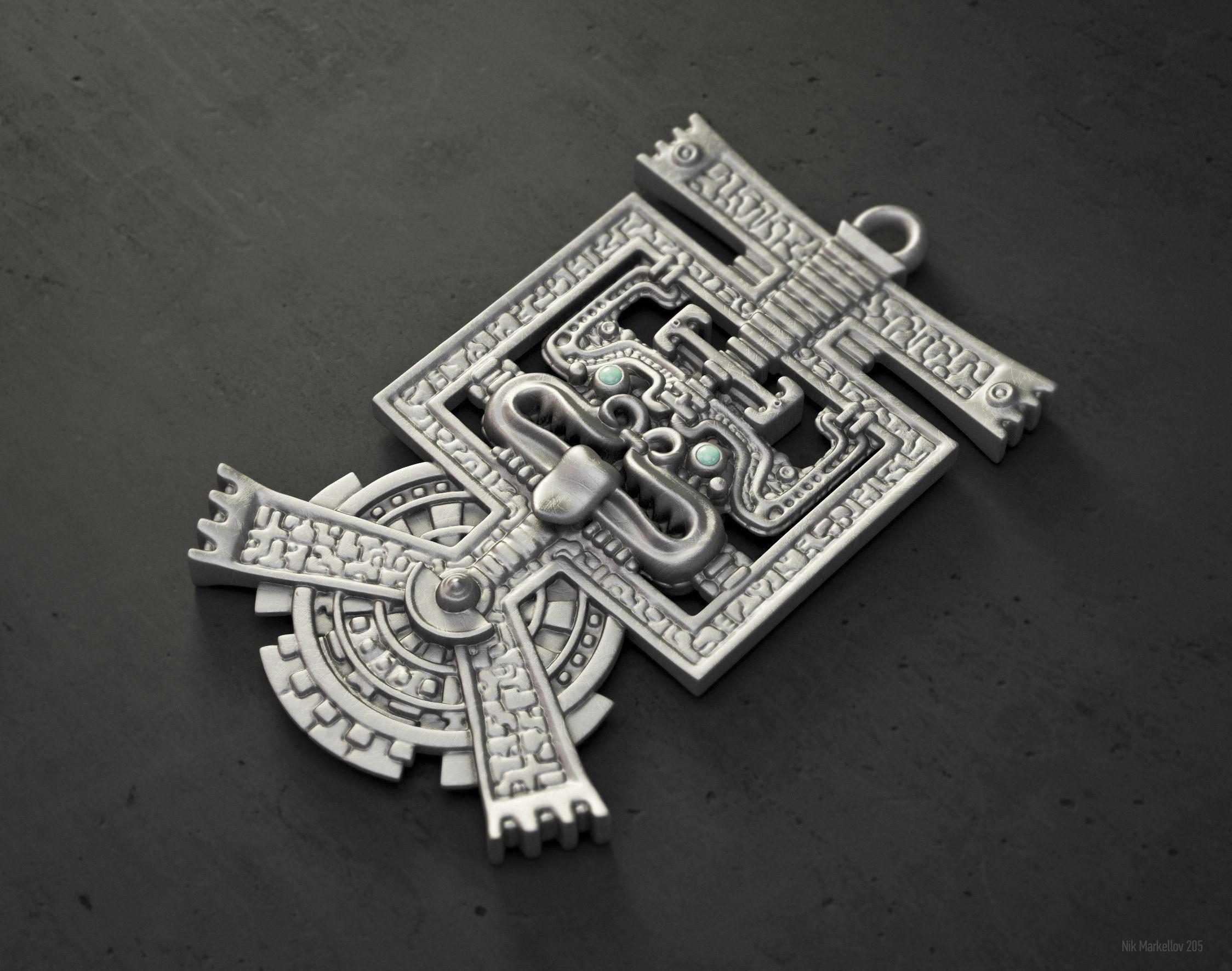 Aztec pendant hq version 3d print model cgtrader aztec pendant hq version 3d model stl 1 mozeypictures Gallery