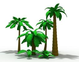 3D cartoon palms tree