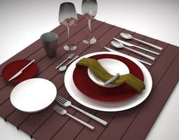 Dinner Set 3D model VR / AR ready